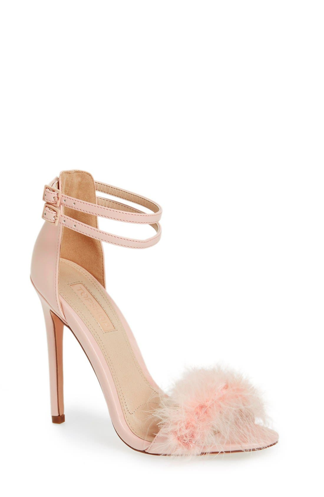 Main Image - Topshop 'Reese' Feather Sandal (Women)