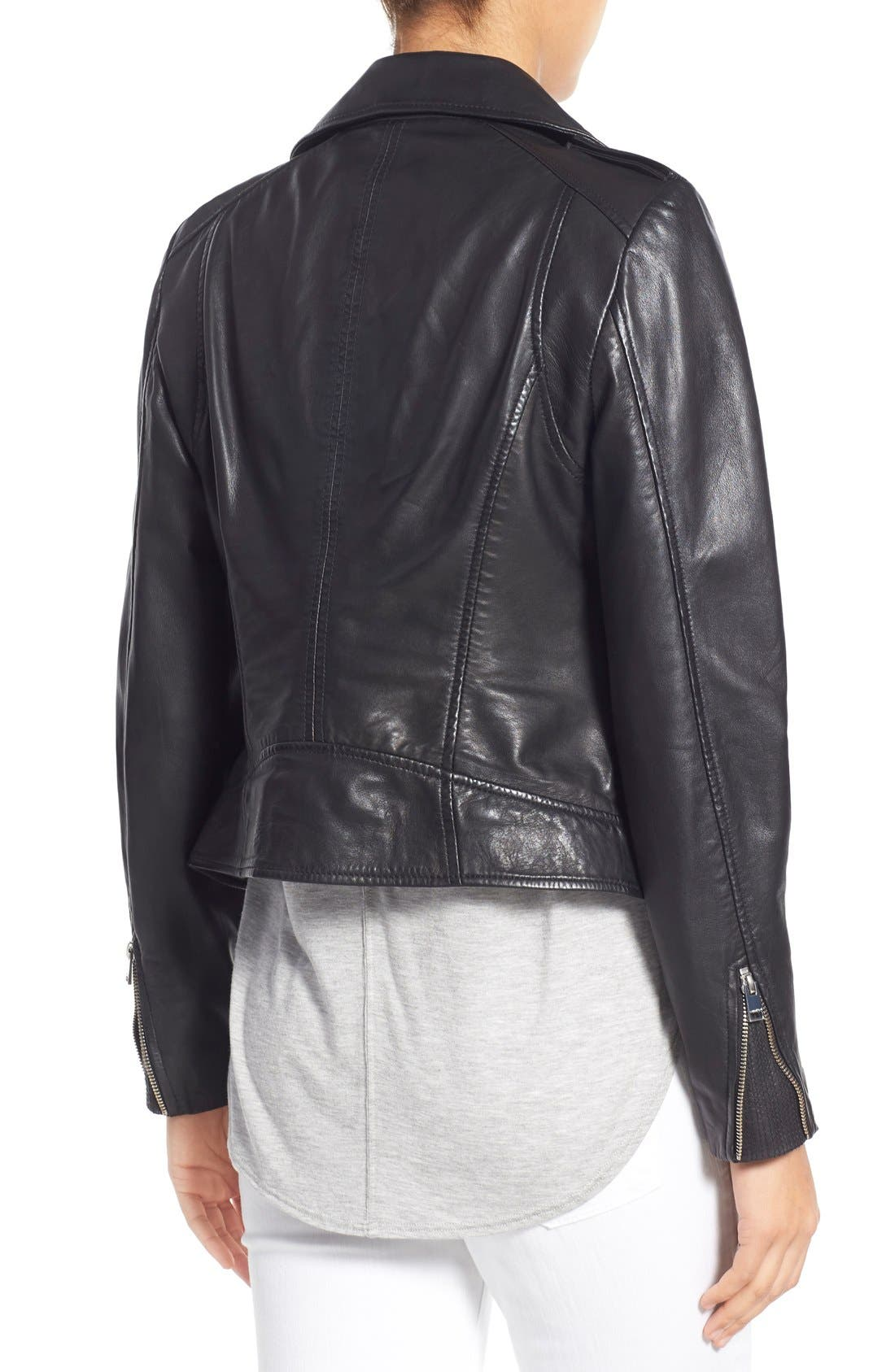 Alternate Image 2  - LAMARQUE Donna Lambskin Leather Moto Jacket