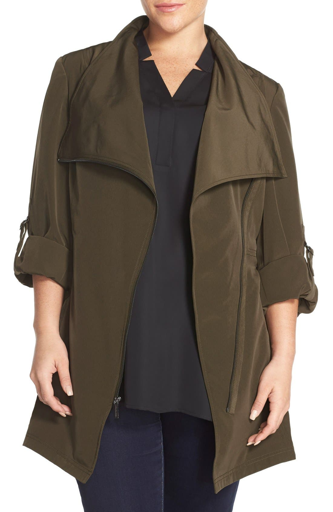 Main Image - MICHAEL Michael Kors Asymmetrical Zip Jacket (Plus Size)