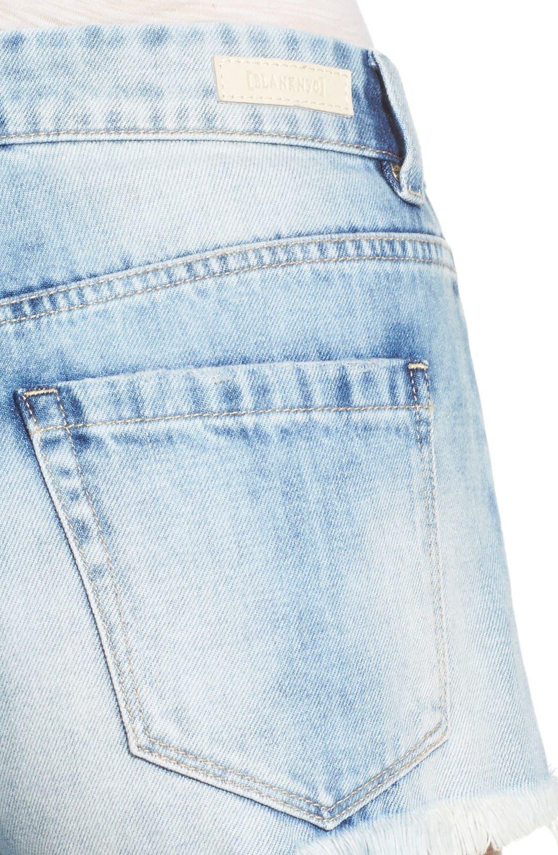 Alternate Image 4  - BLANKNYC Distressed Cutoff Denim Shorts (All Night Long)