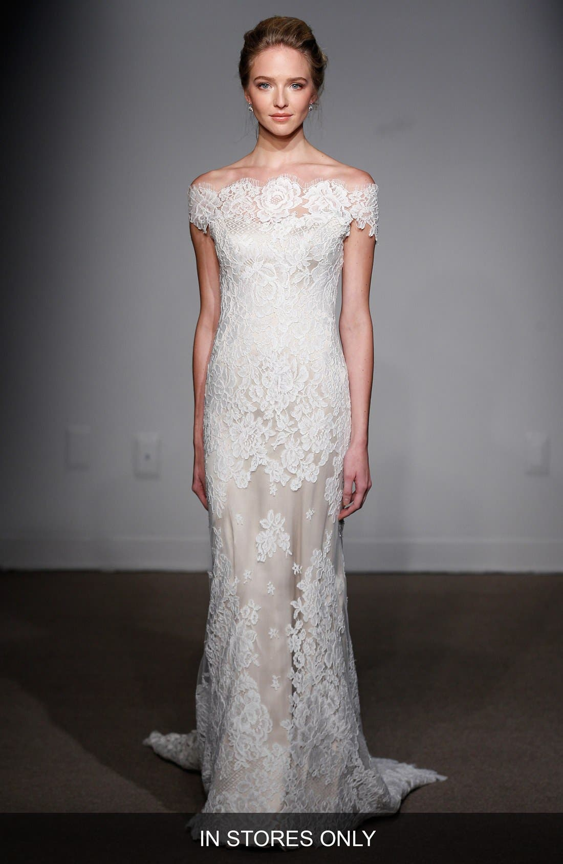ANNA MAIER COUTURE 'Gabrielle' Off-the-Shoulder Corded Lace Gown
