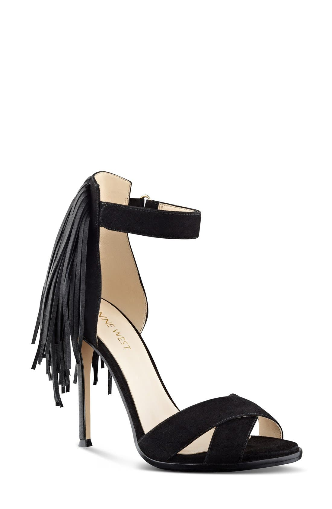 Alternate Image 1 Selected - Nine West 'Hustle' Fringe Ankle Strap Sandal (Women)