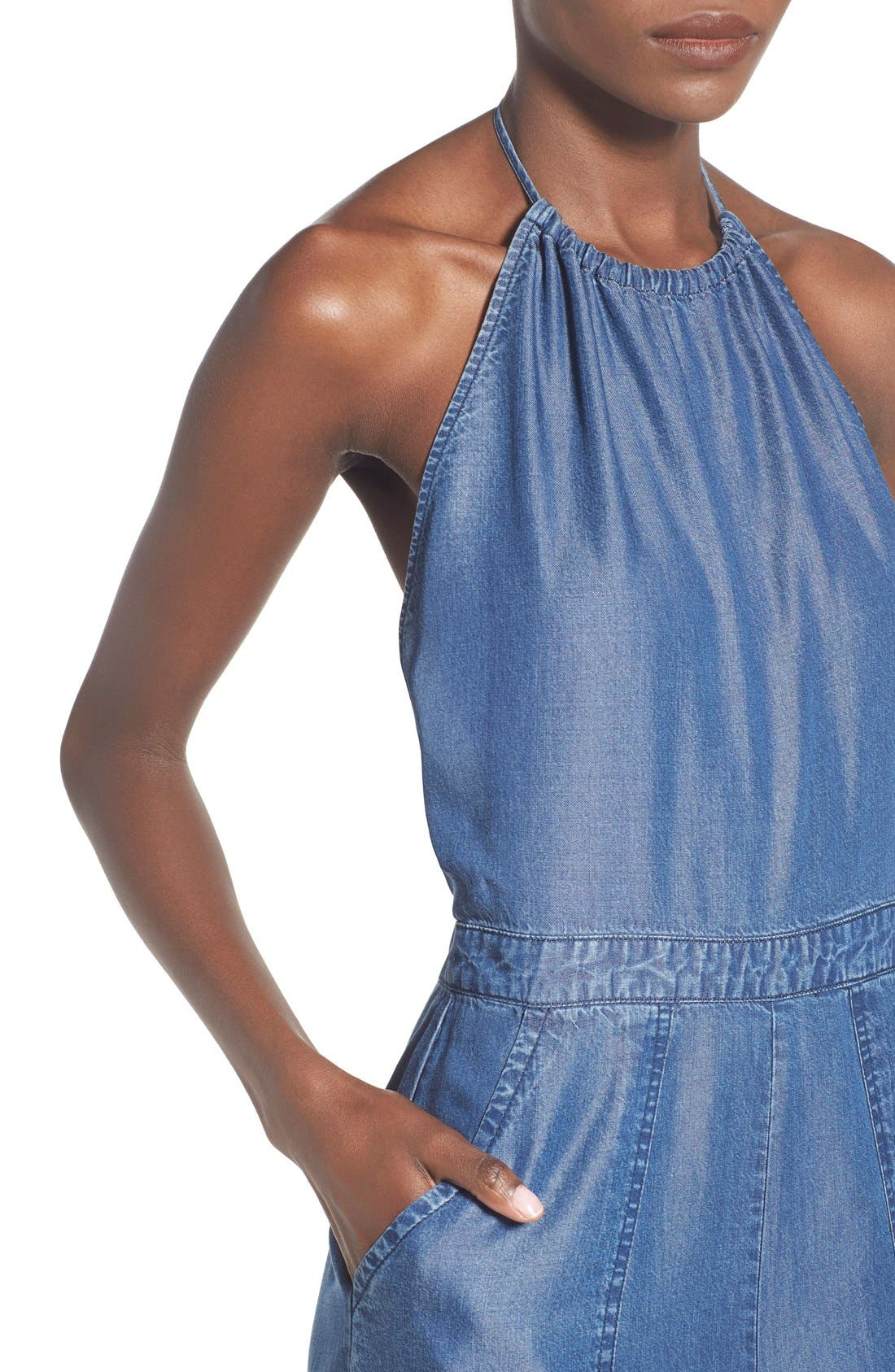 Alternate Image 4  - ASTR Chambray Halter Jumpsuit