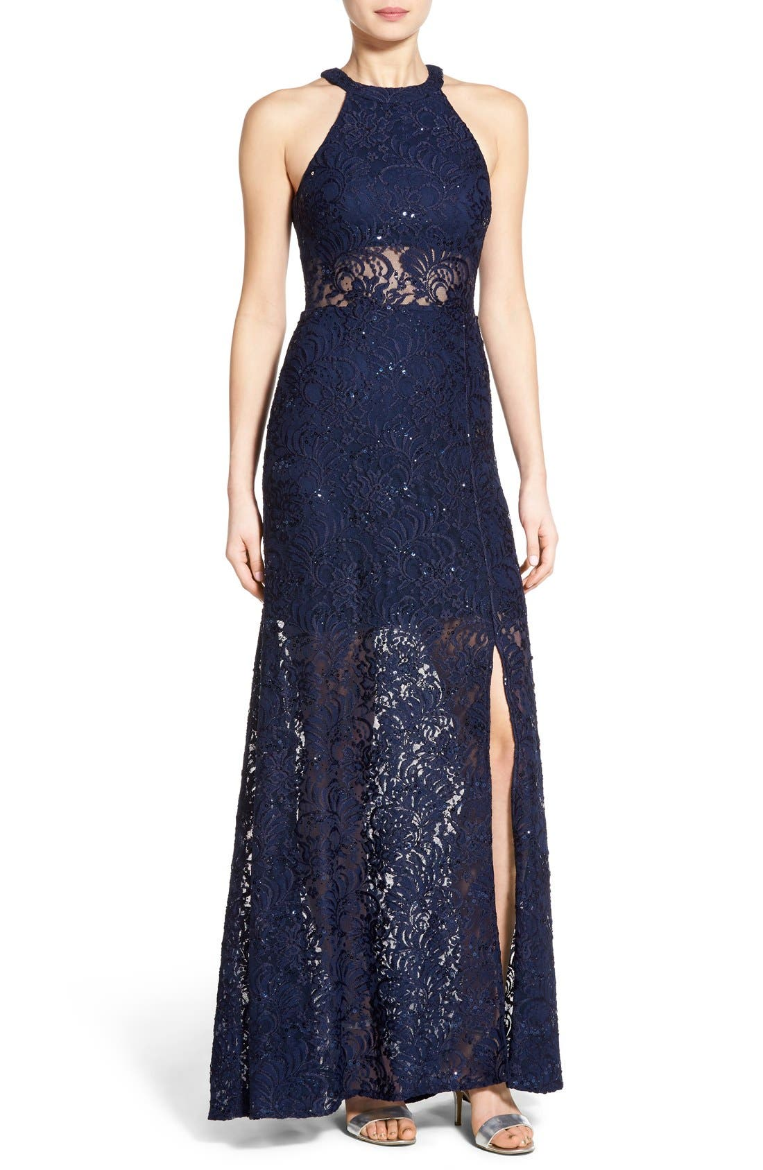 Main Image - Morgan & Co. Sequin Lace Halter Gown