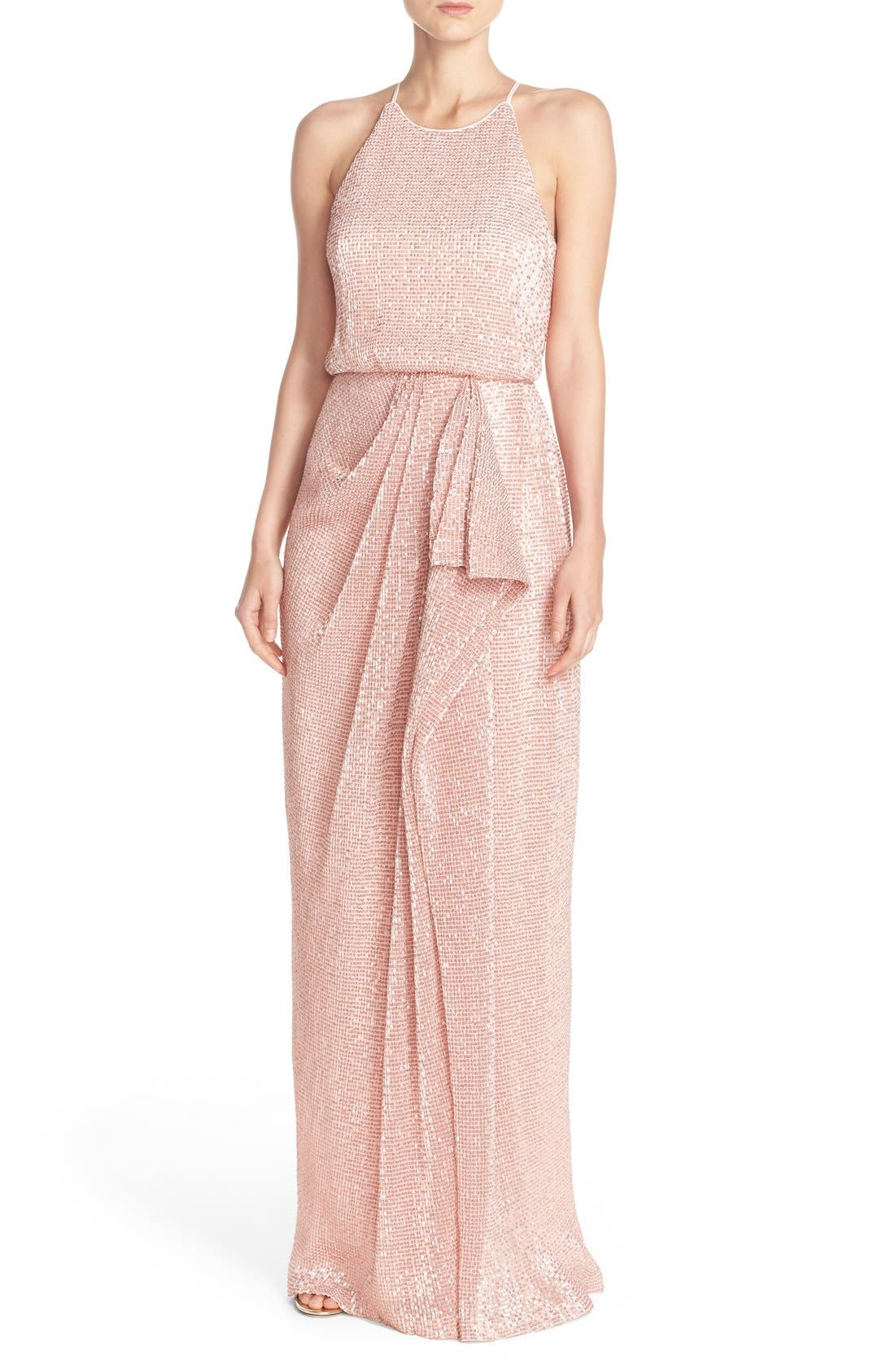 Main Image - Badgley Mischka Sequin Mesh Blouson Gown