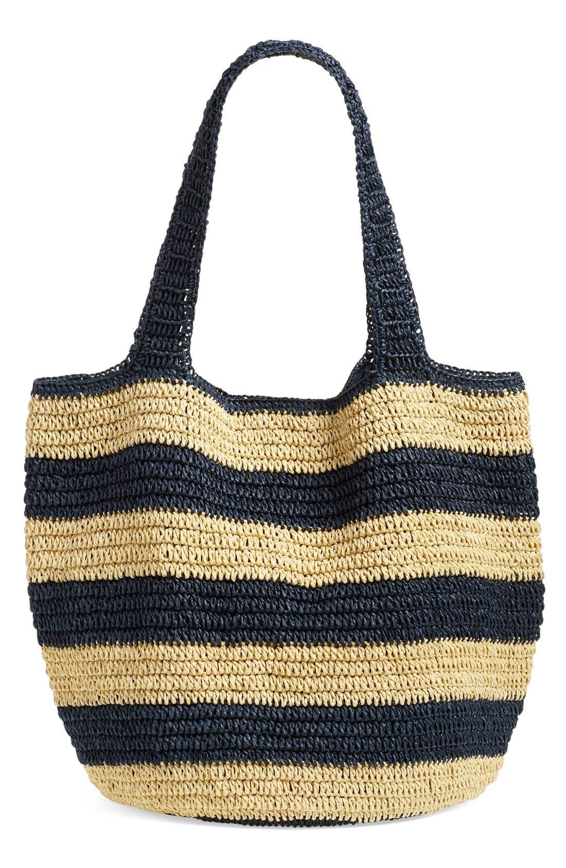 Alternate Image 3  - Caslon® Stripe Crochet Straw Shoulder Bag