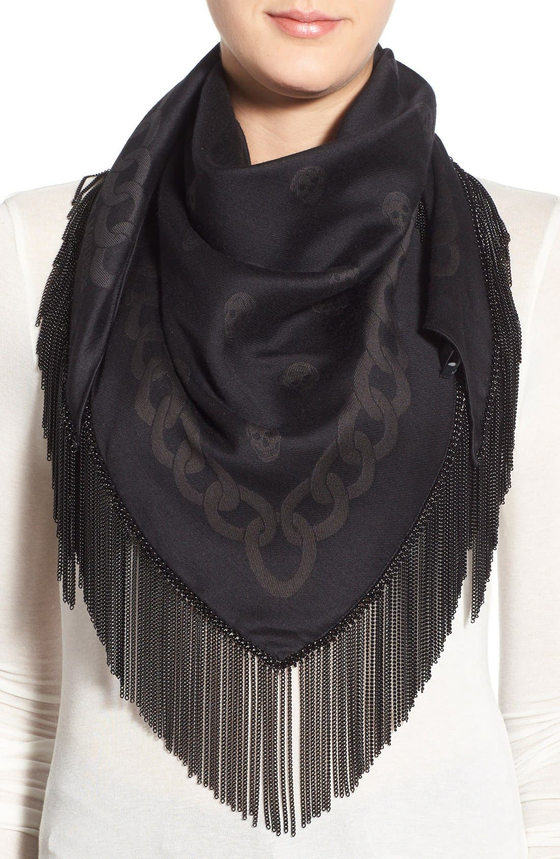 Alternate Image 1 Selected - Alexander McQueen Chain Fringe Wool & Silk Scarf