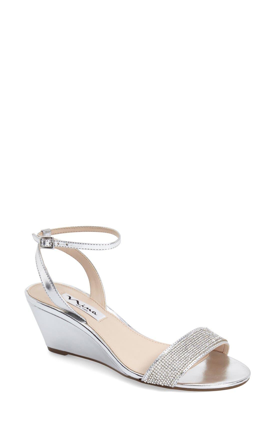 Main Image - Nina 'Novia' Embellished Wedge Sandal (Women)
