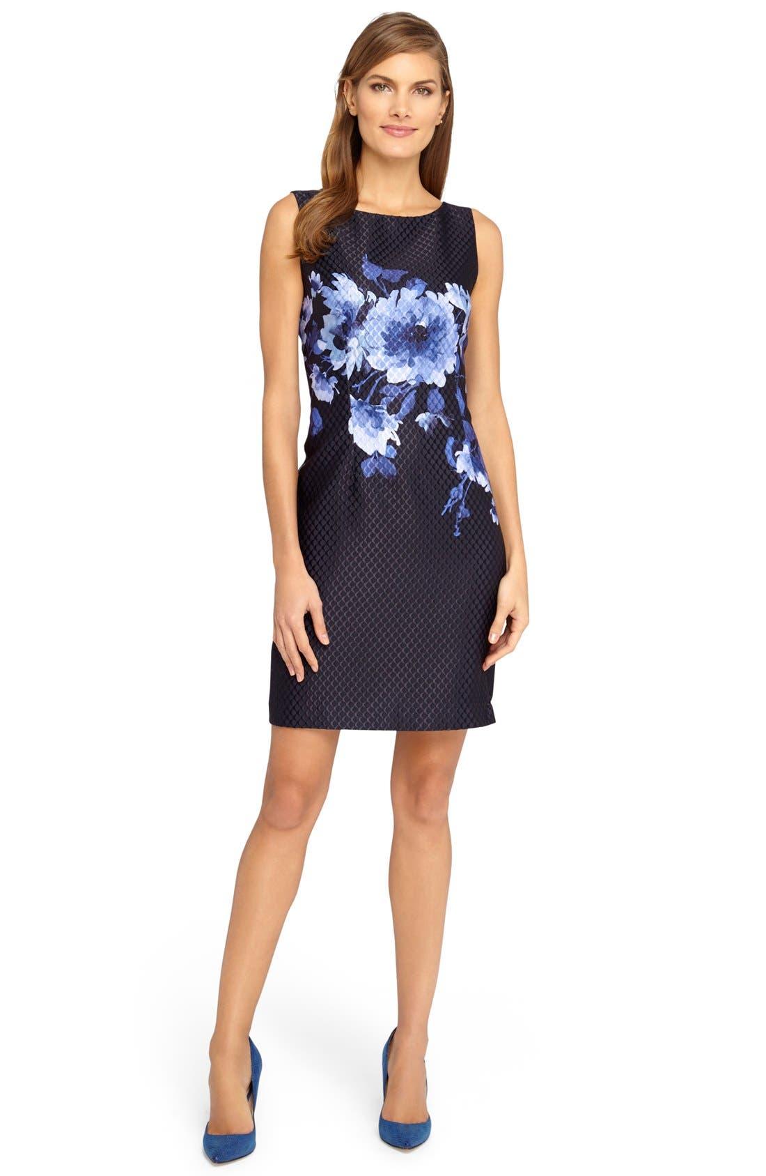 Alternate Image 3  - Tahari Floral Jacquard Sheath Dress (Regular & Petite)