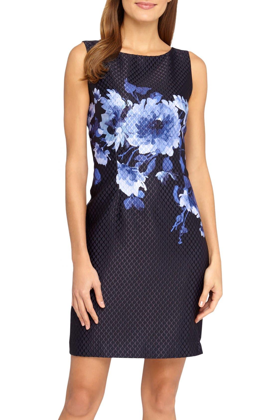 Alternate Image 1 Selected - Tahari Floral Jacquard Sheath Dress (Regular & Petite)