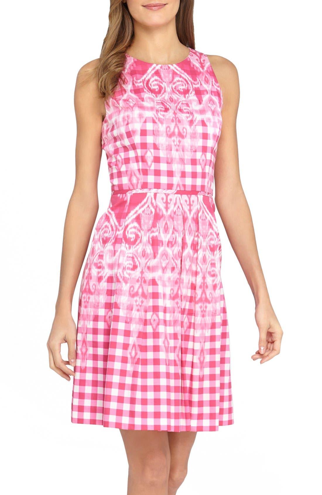 Main Image - Tahari Gingham Print Fit & Flare Dress (Regular & Petite)
