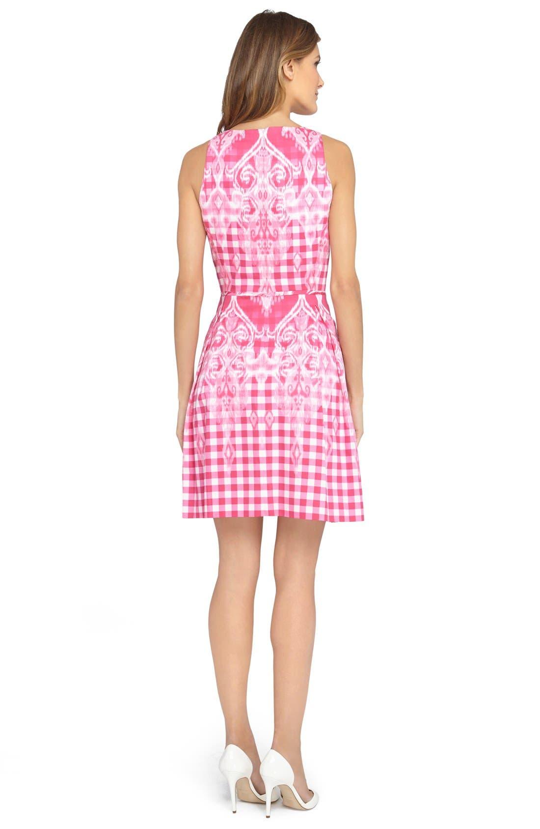 Alternate Image 2  - Tahari Gingham Print Fit & Flare Dress (Regular & Petite)