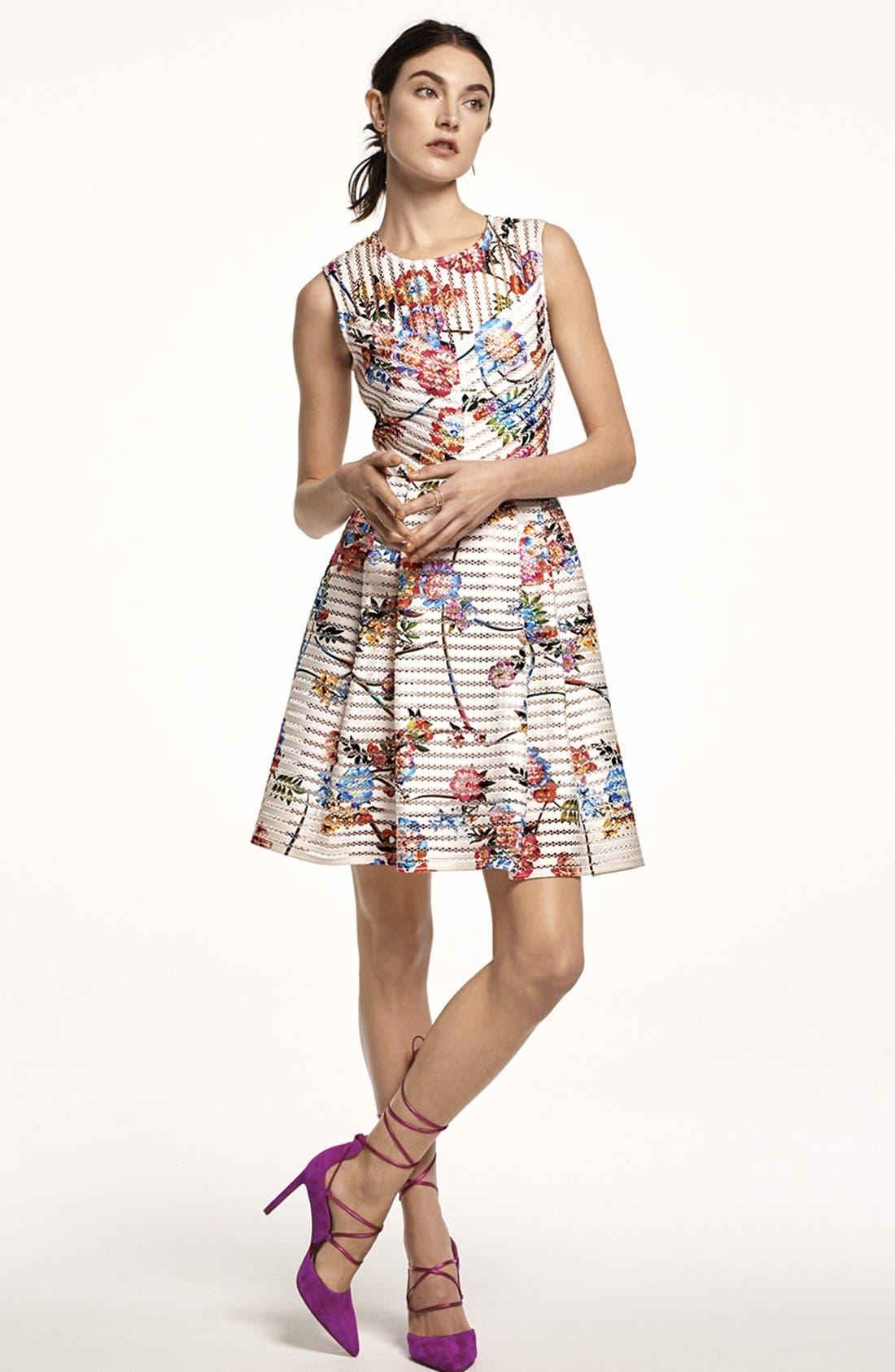 Alternate Image 6  - Gabby Skye Floral Scuba Mesh Fit & Flare Dress