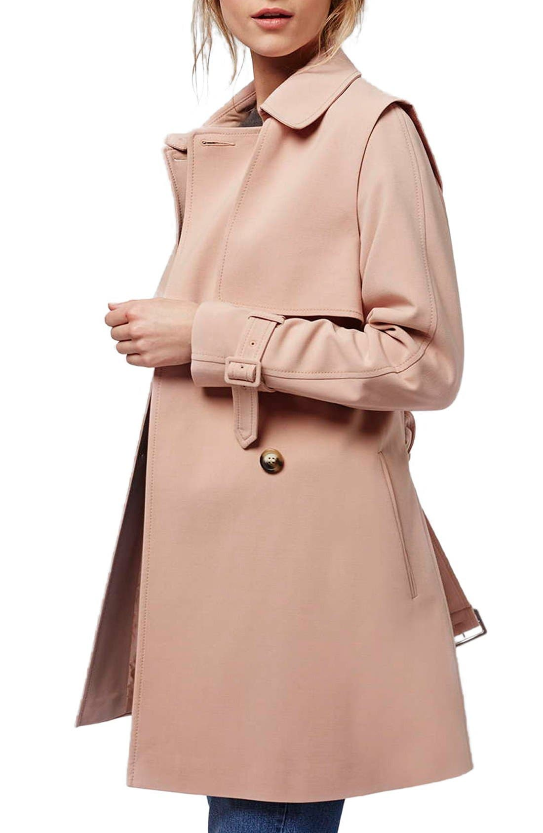 Alternate Image 1 Selected - Topshop Belted Double Breasted Trench Coat