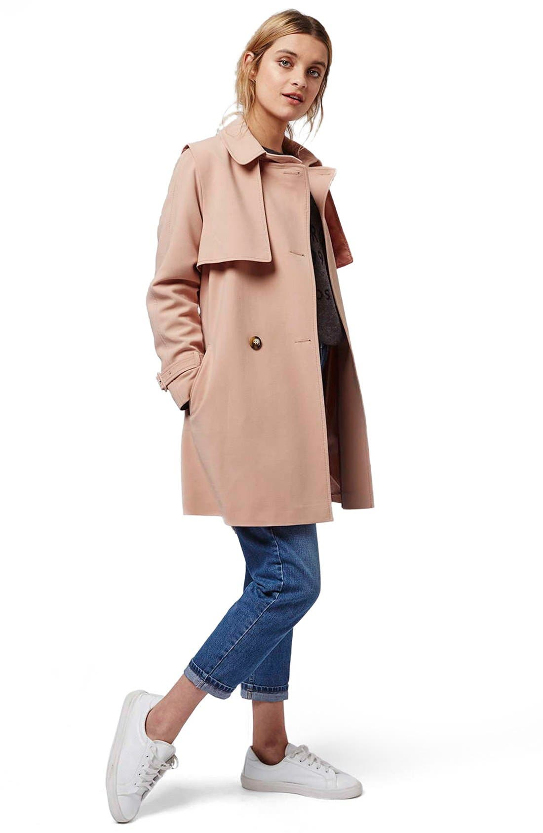 Alternate Image 2  - Topshop Belted Double Breasted Trench Coat