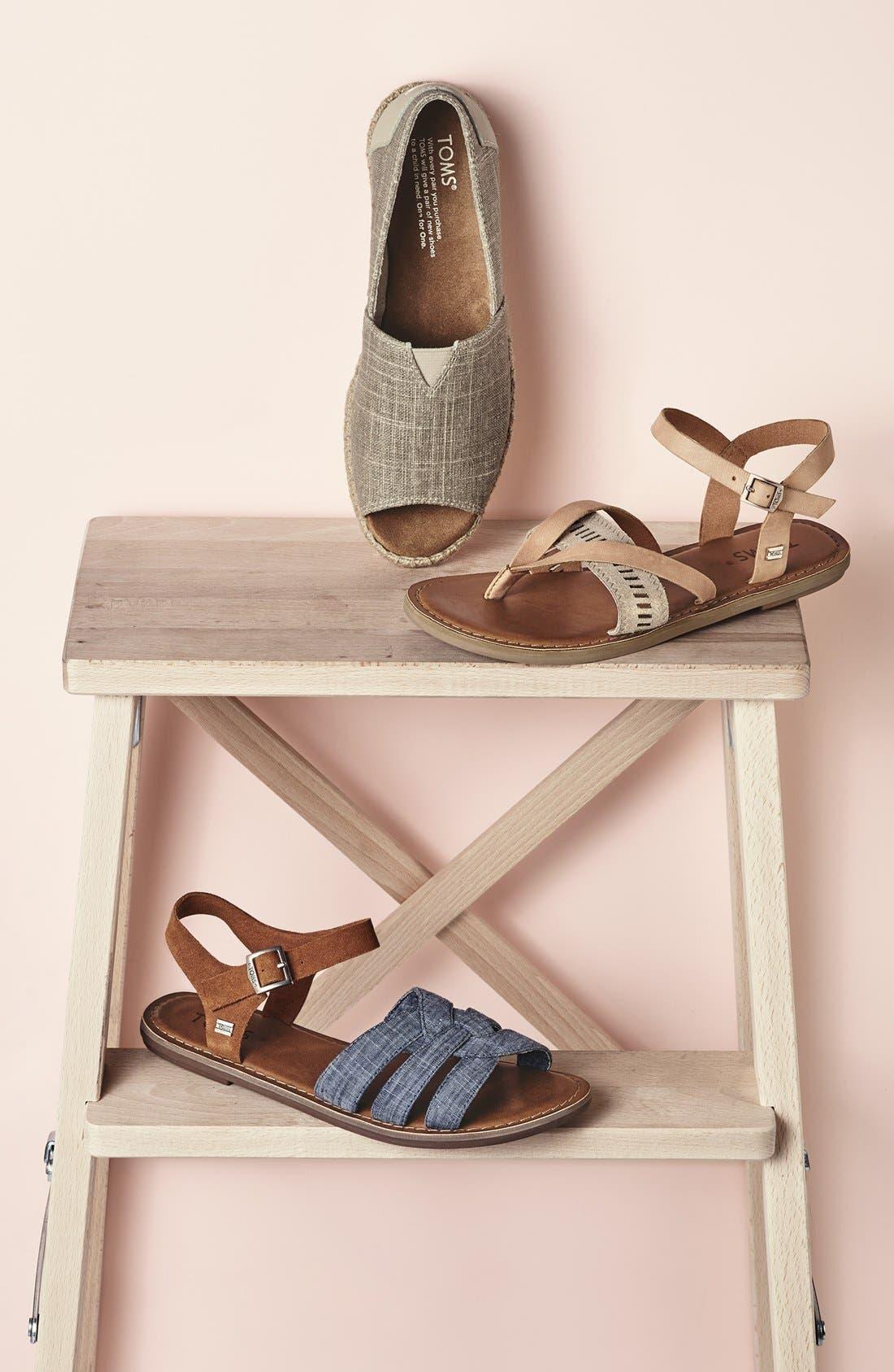 Alternate Image 5  - TOMS 'Zoe' Chambray Flat Quarter Strap Sandal (Women)