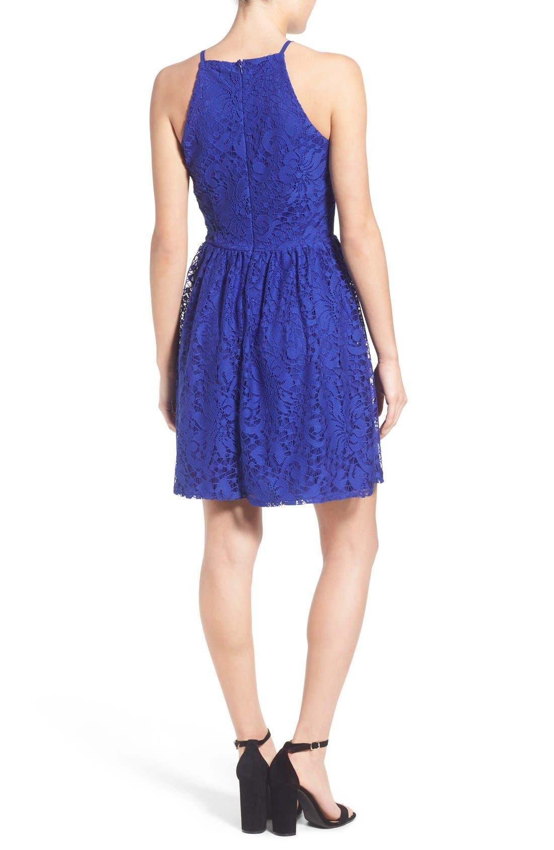 Alternate Image 2  - Speechless Lace High Neck Skater Dress