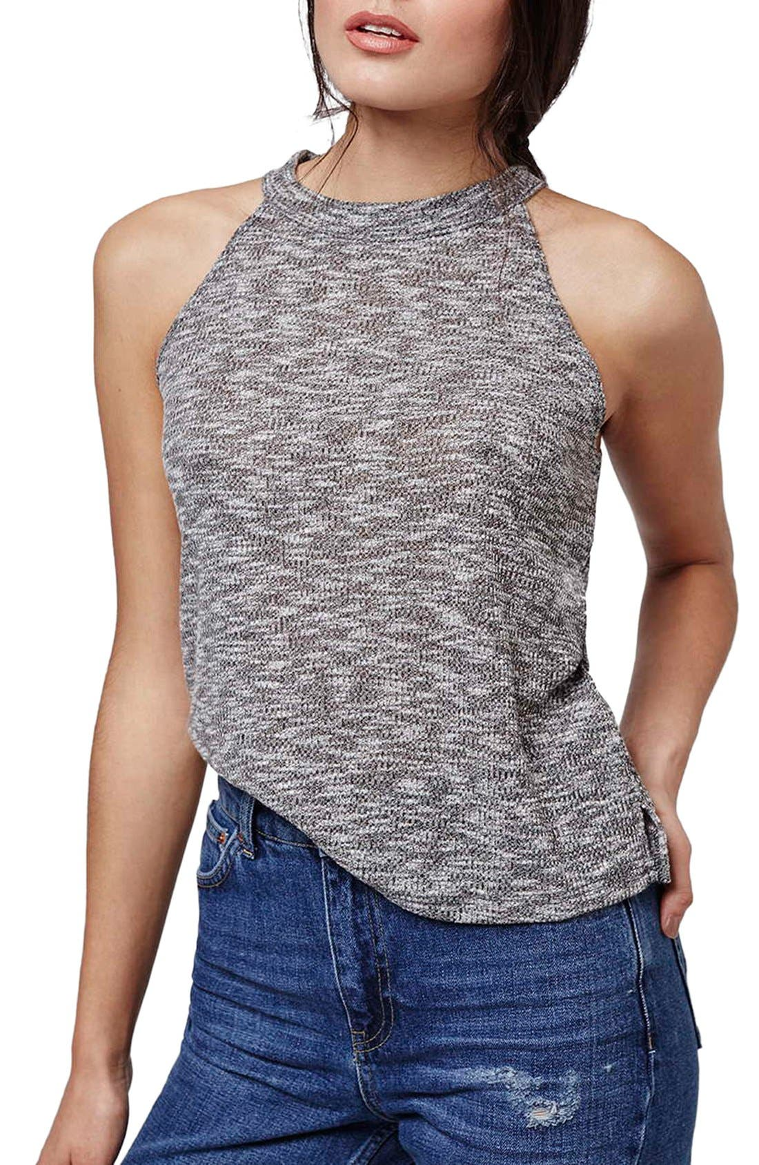 Alternate Image 1 Selected - Topshop Ribbed High Neck Top (Petite)