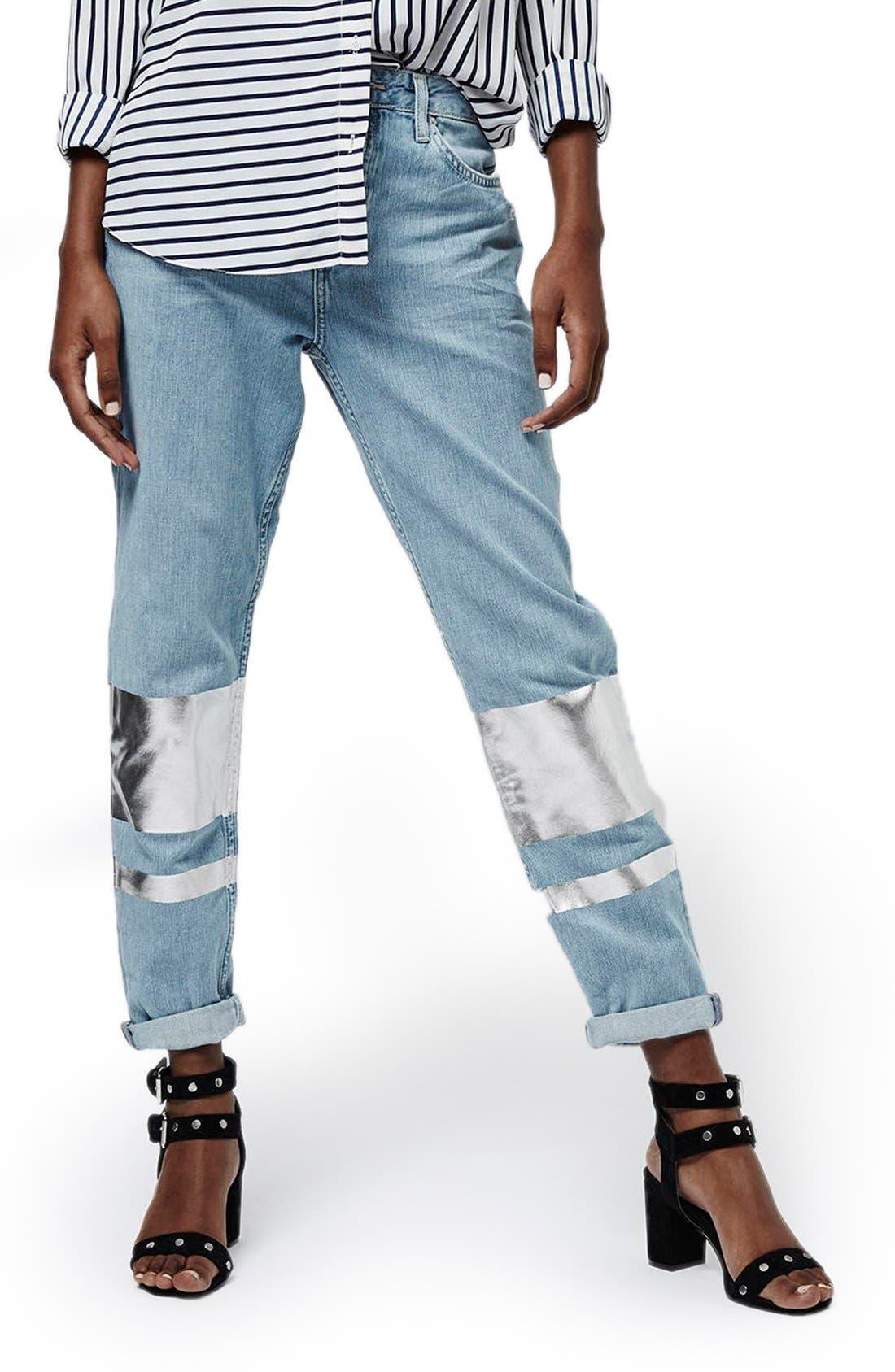 Main Image - Topshop Silver Stripe Hologram Crop Boyfriend Jeans (Light)