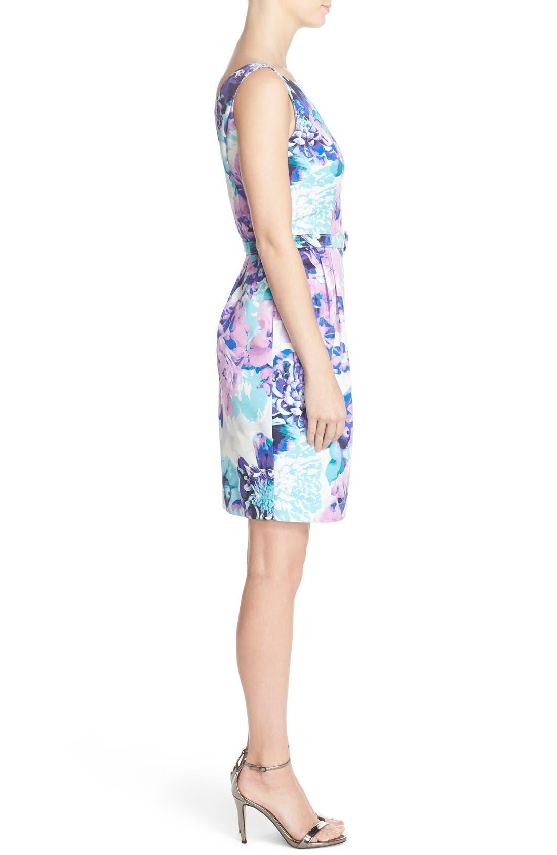 Alternate Image 3  - Eliza J Belted Floral Faille Sheath Dress (Regular & Petite)