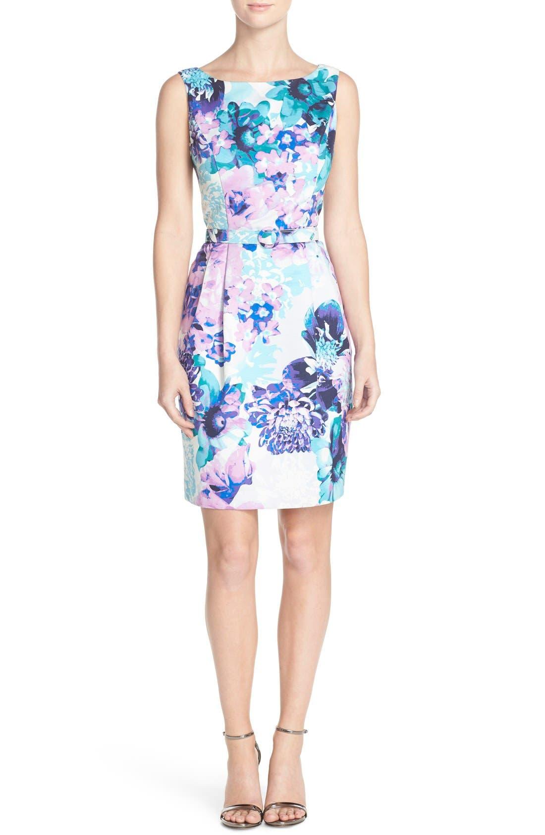 Alternate Image 4  - Eliza J Belted Floral Faille Sheath Dress (Regular & Petite)