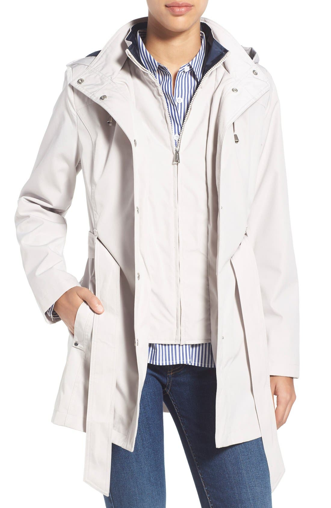 Main Image - Nautica Belted Raincoat with Inset Bib