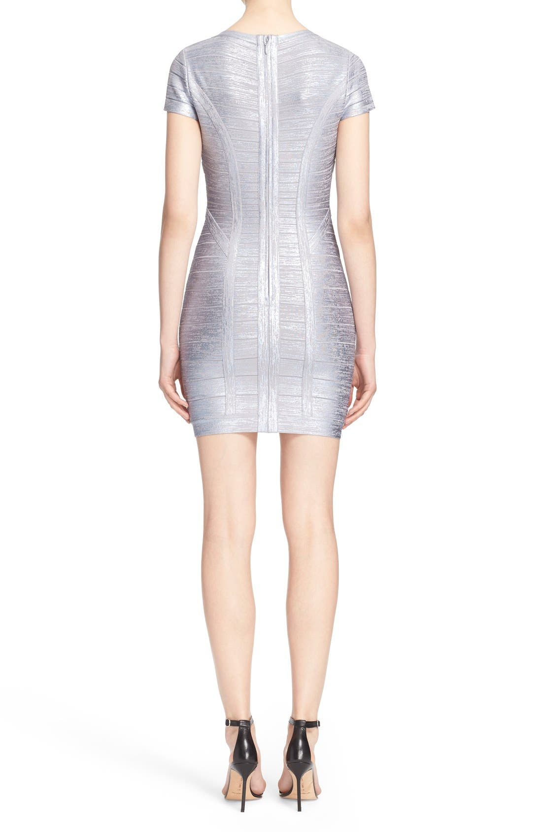 Alternate Image 2  - Herve Leger 'Klaudia' Woodgrain Metallic Foil Dress