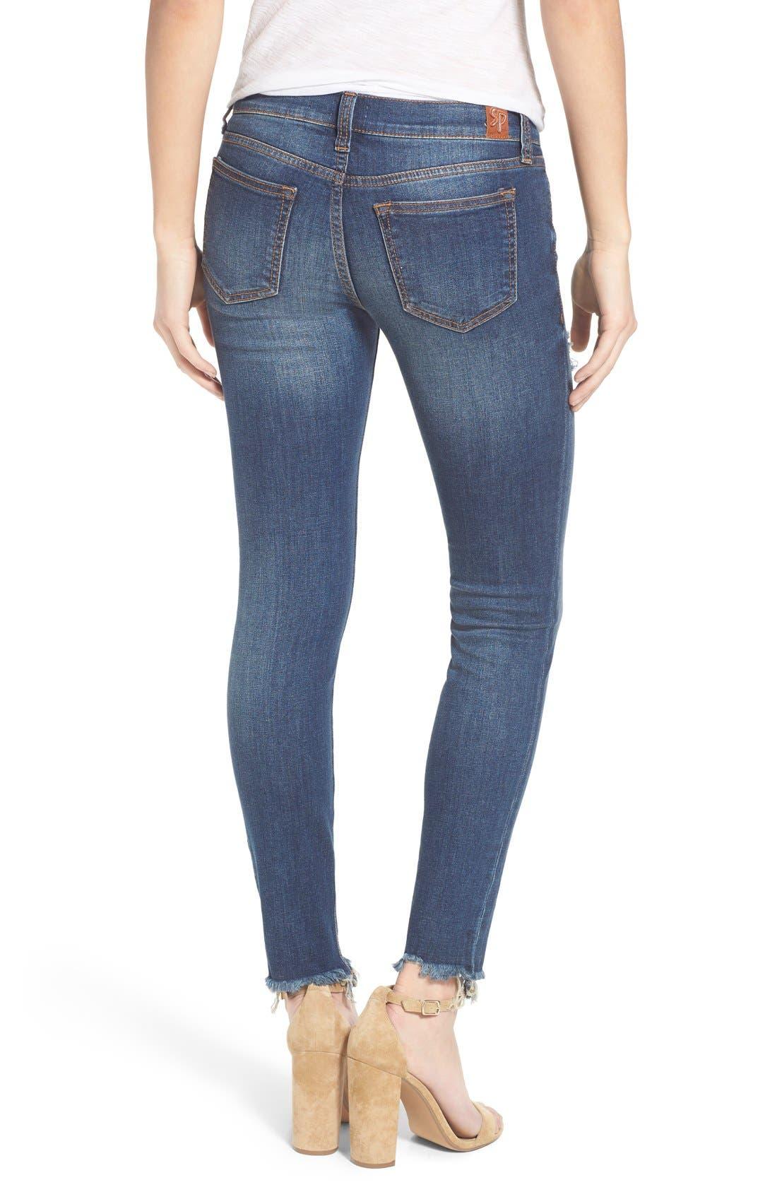 Alternate Image 2  - SP Black Distressed Raw Hem Skinny Jeans