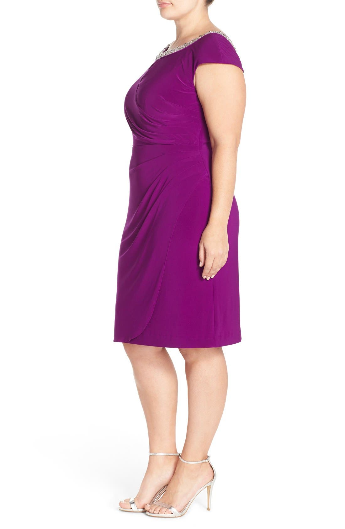 Alternate Image 3  - Alex Evenings Beaded Matte Jersey Sheath Dress (Plus Size)