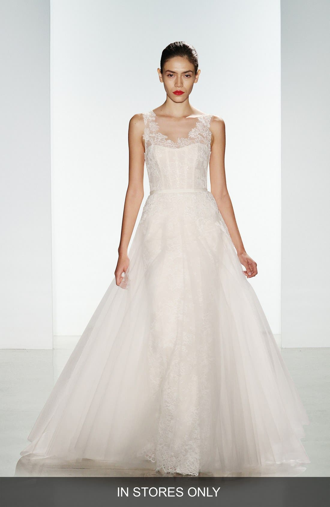 Amsale 'Rae' Corded Lace Gown with Tulle Overskirt (In Stores Only)