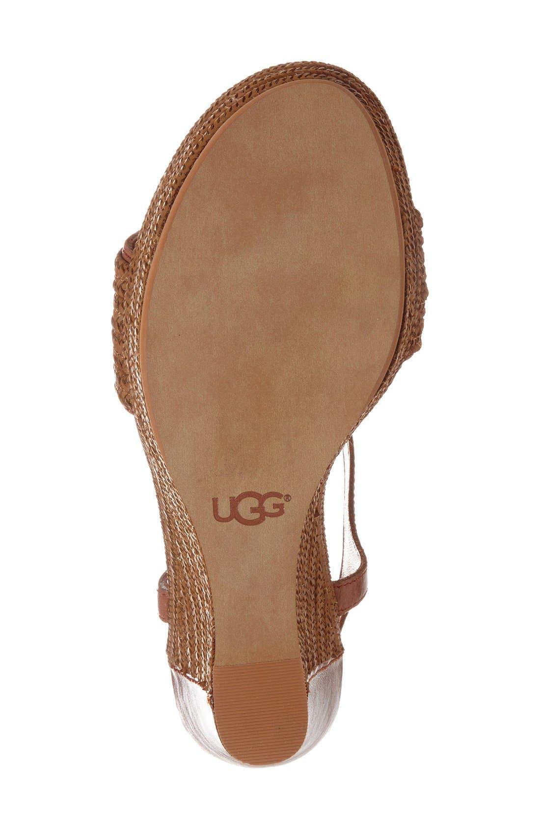 Alternate Image 4  - UGG® 'Fitchie' T-Strap Wedge Sandal (Women)
