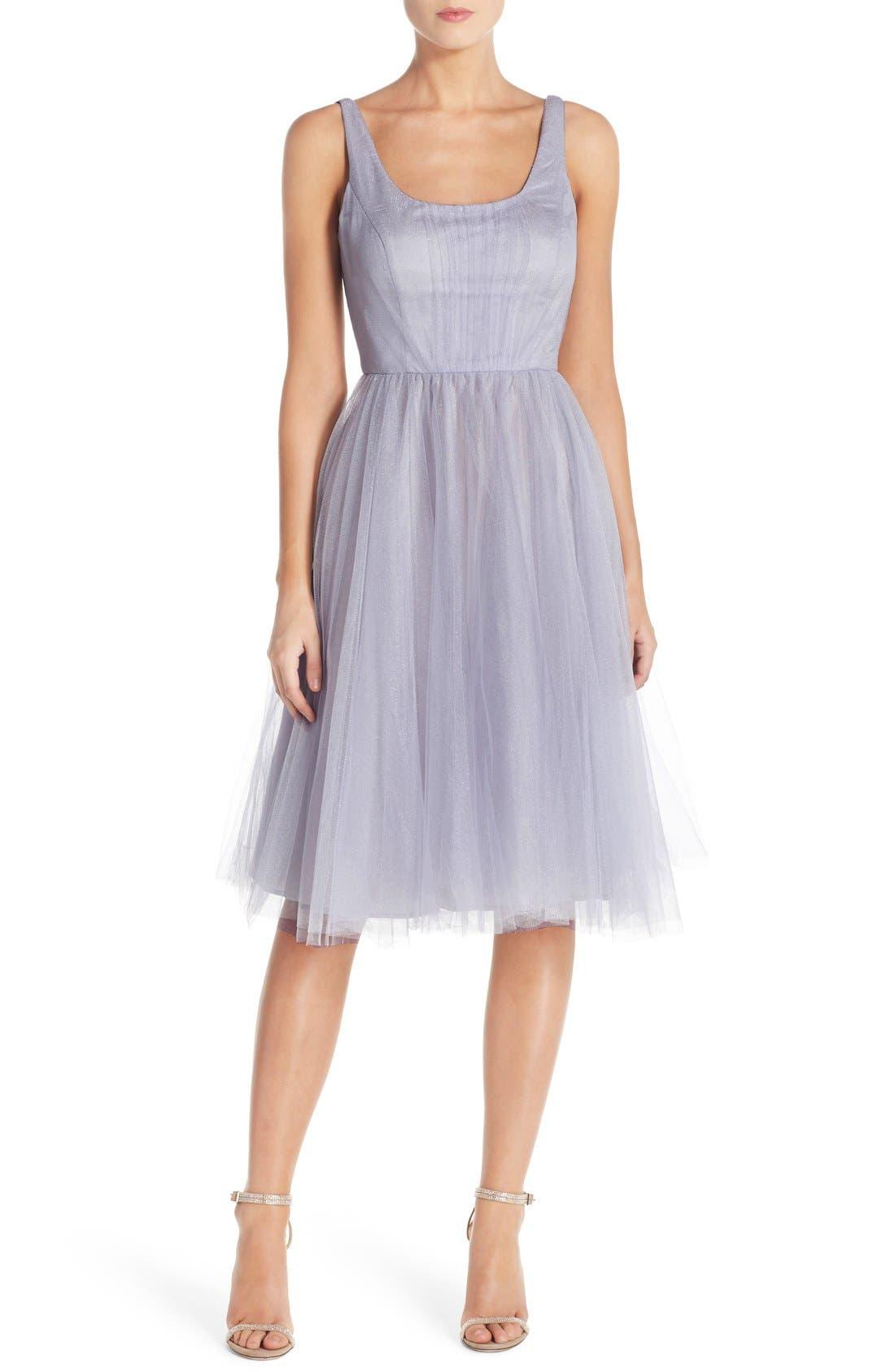Main Image - Donna Morgan 'Chantal' Tulle Fit & Flare Midi Dress