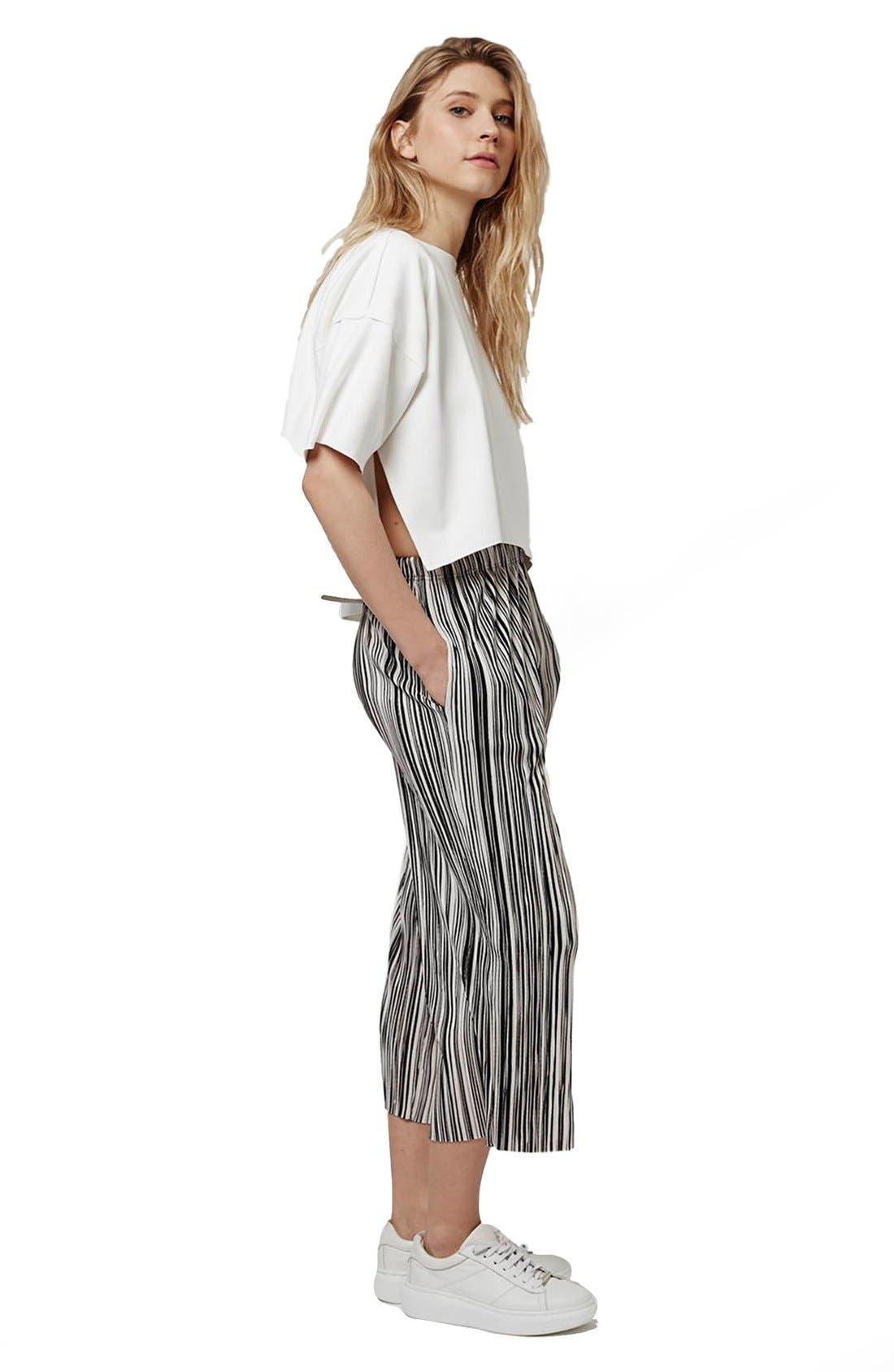 Alternate Image 2  - Topshop Pleat Stripe Crop Trousers (Petite)