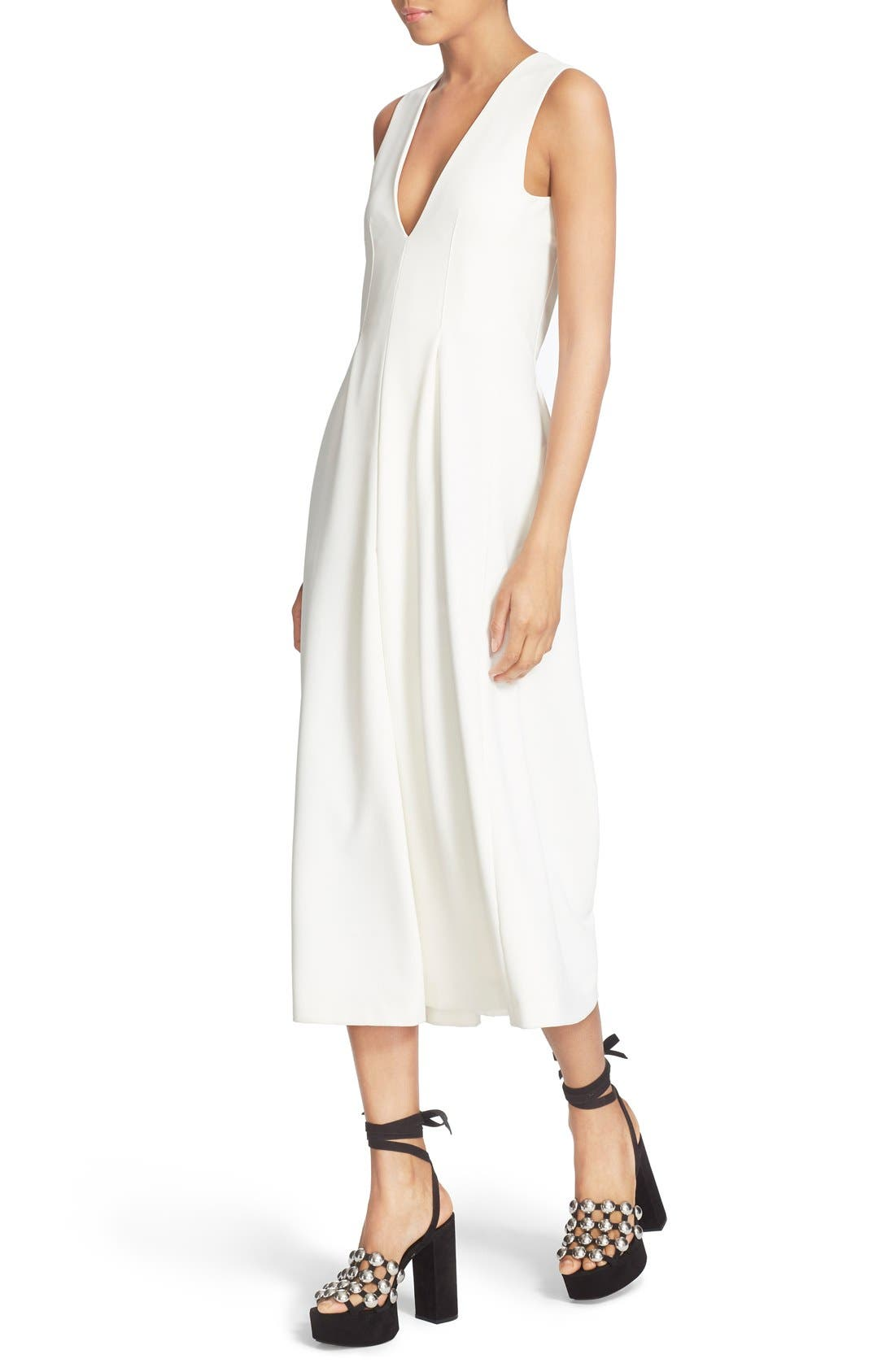 Alternate Image 4  - T by Alexander Wang V-Neck Stretch Twill Gaucho Romper