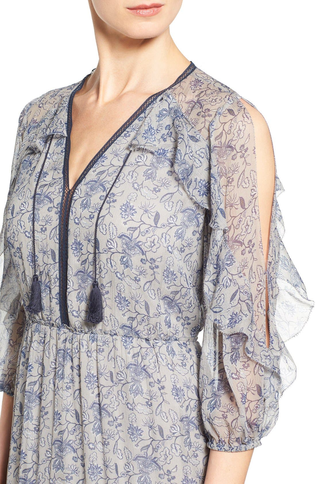 Alternate Image 4  - Elie Tahari 'Landon' Ruffle Trim A-Line Floral Print Silk Dress