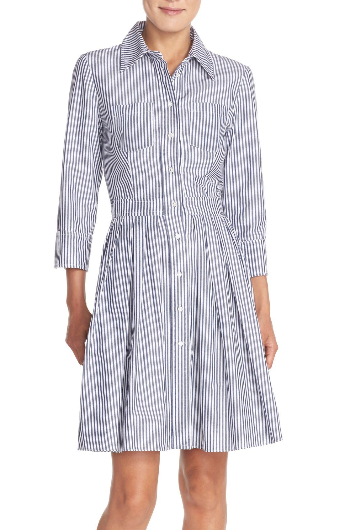 Main Image - Eliza J Stripe Cotton Shirtdress (Regular & Petite)