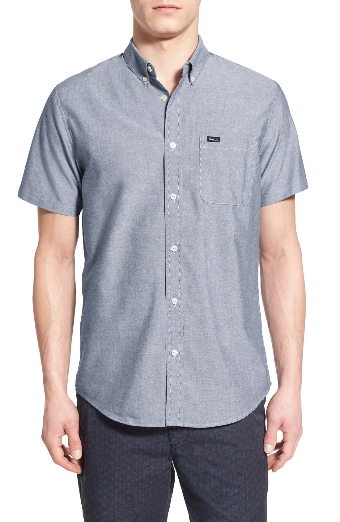 RVCA 'That'll Do' Slim Fit Short Sleeve Oxford Shirt