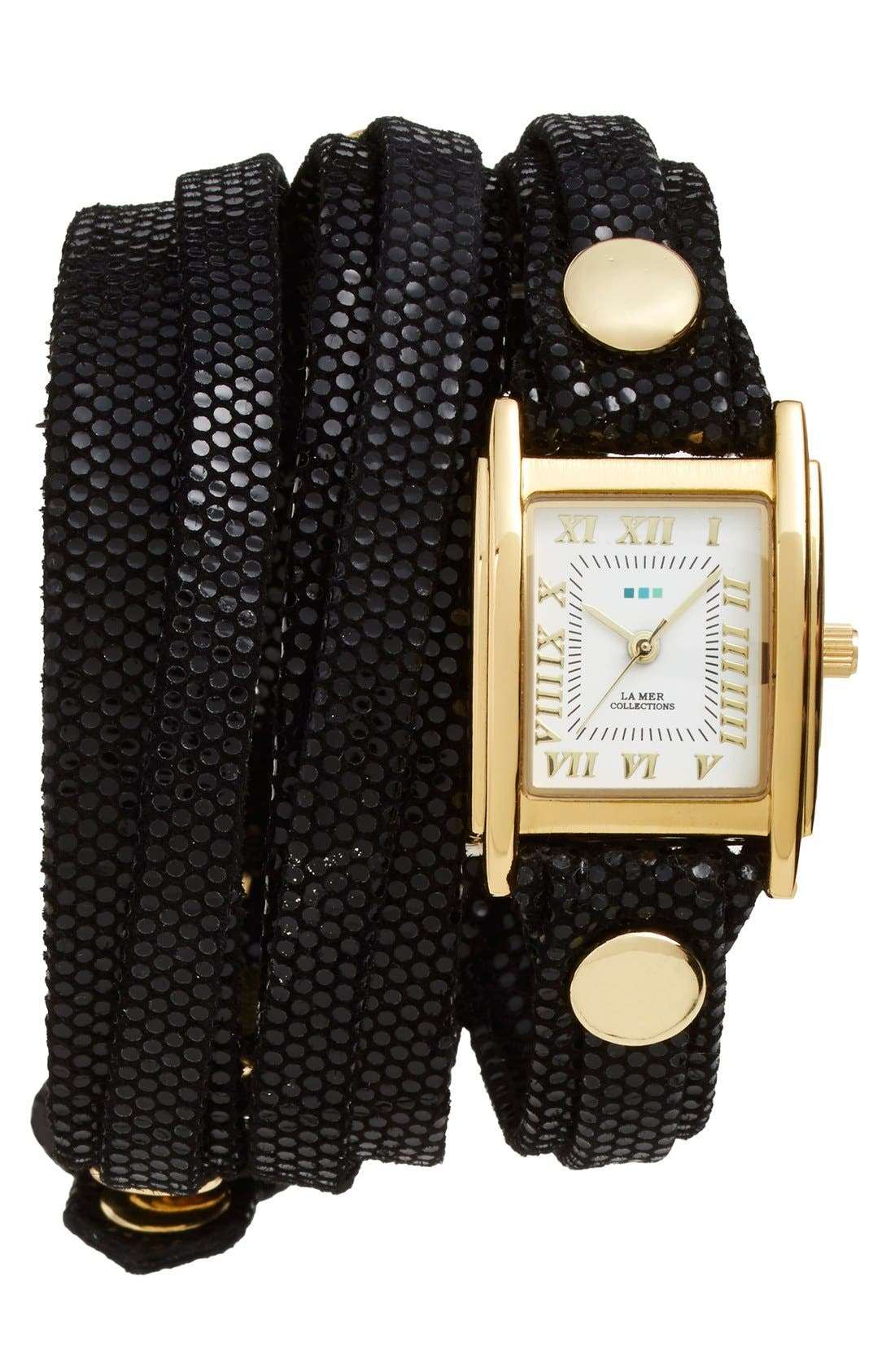 Main Image - La Mer Collections Leather Strap Wrap Watch, 28mm