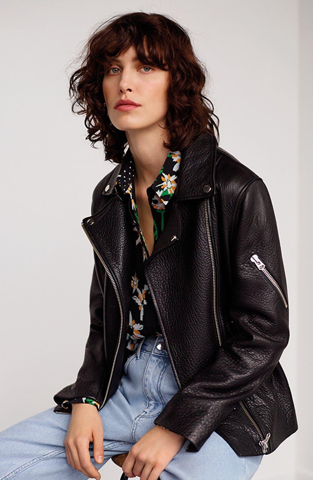 Alternate Image 2  - Topshop Boutique Leather Biker Jacket