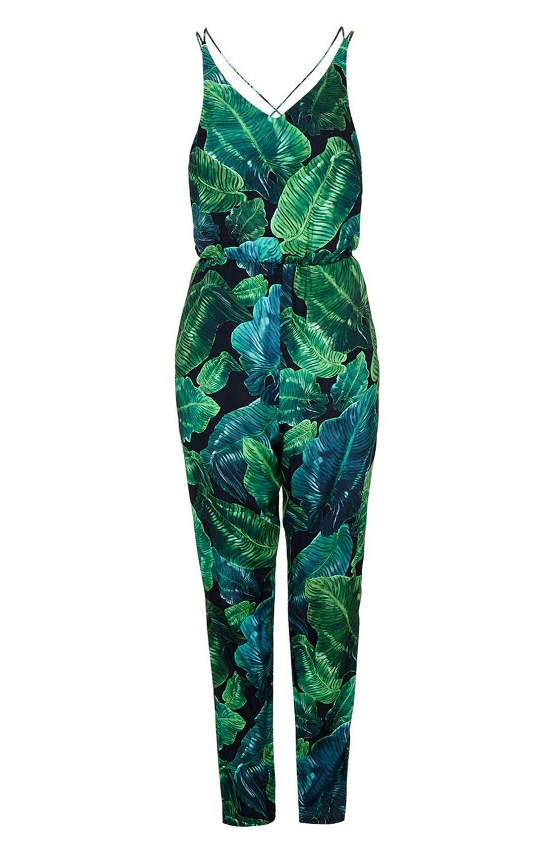 Alternate Image 3  - Topshop Palm Print Strappy Jumpsuit (Regular & Petite)