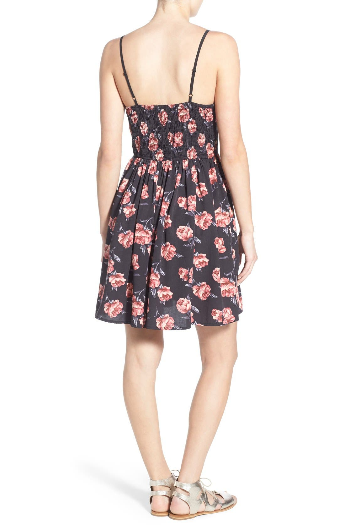 Alternate Image 2  - Band of Gypsies Floral Print Skater Dress