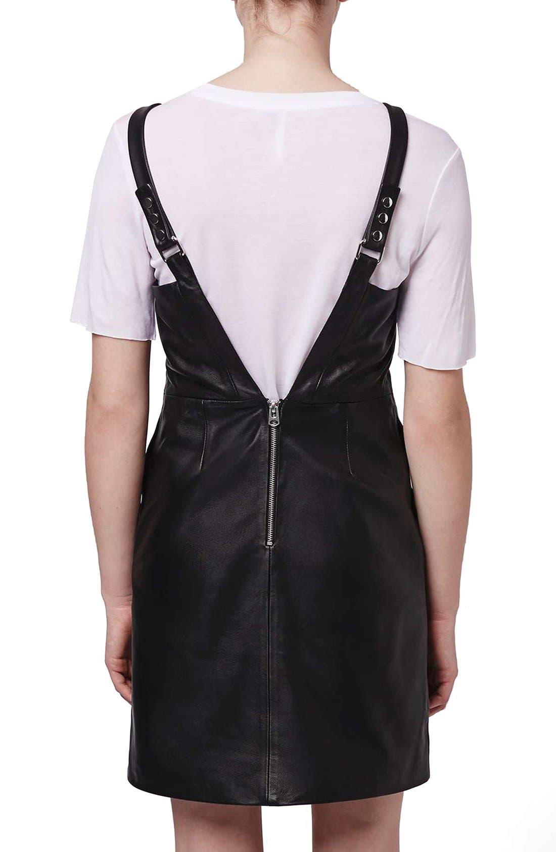 Alternate Image 2  - Topshop Boutique Leather Pinafore Dress