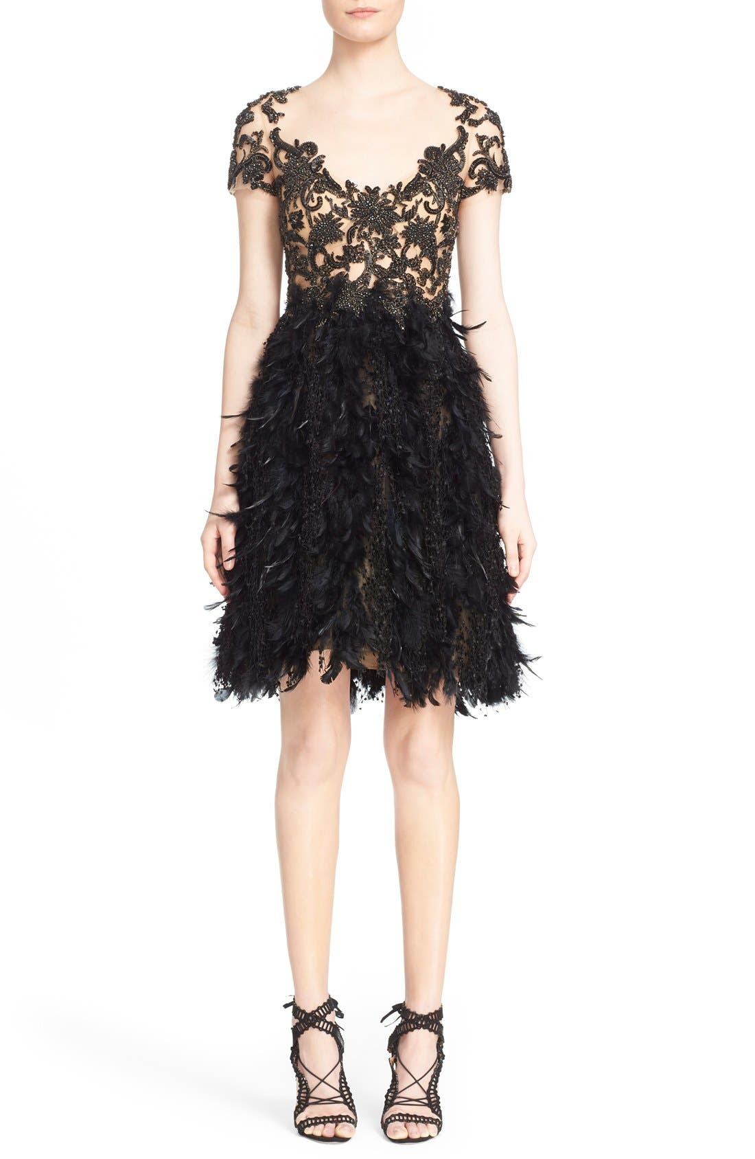 MARCHESA Embroidered Illusion & Feather Cocktail Dress