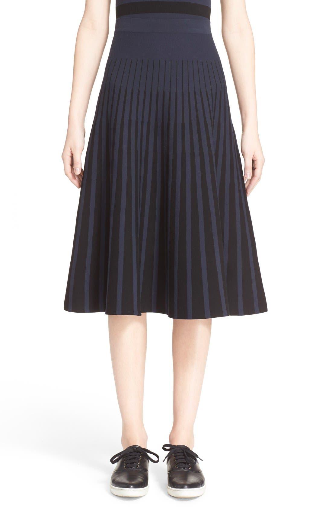 Alternate Image 1  - Tomas Maier Stripe Knit Flared Skirt