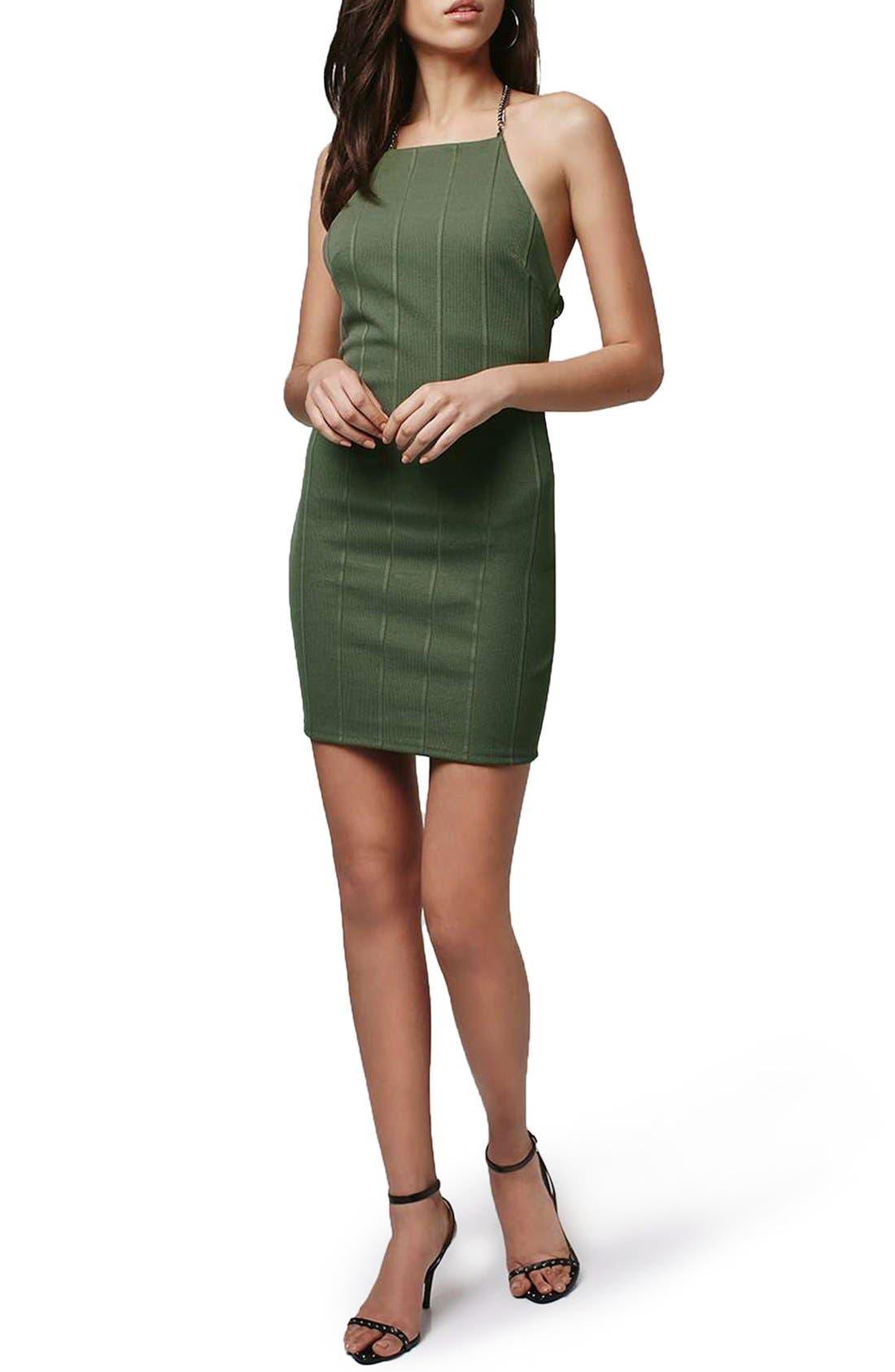 Main Image - Topshop Chain Strap Bandage Body-Con Dress (Regular & Petite)