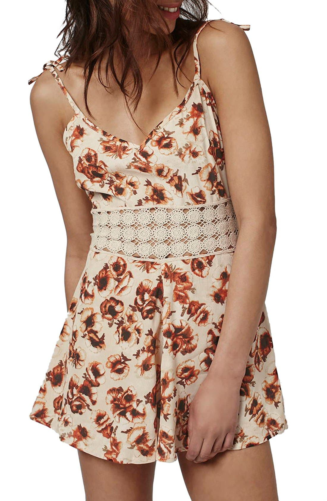 Alternate Image 1 Selected - Topshop '60s Lace Inset Floral Romper