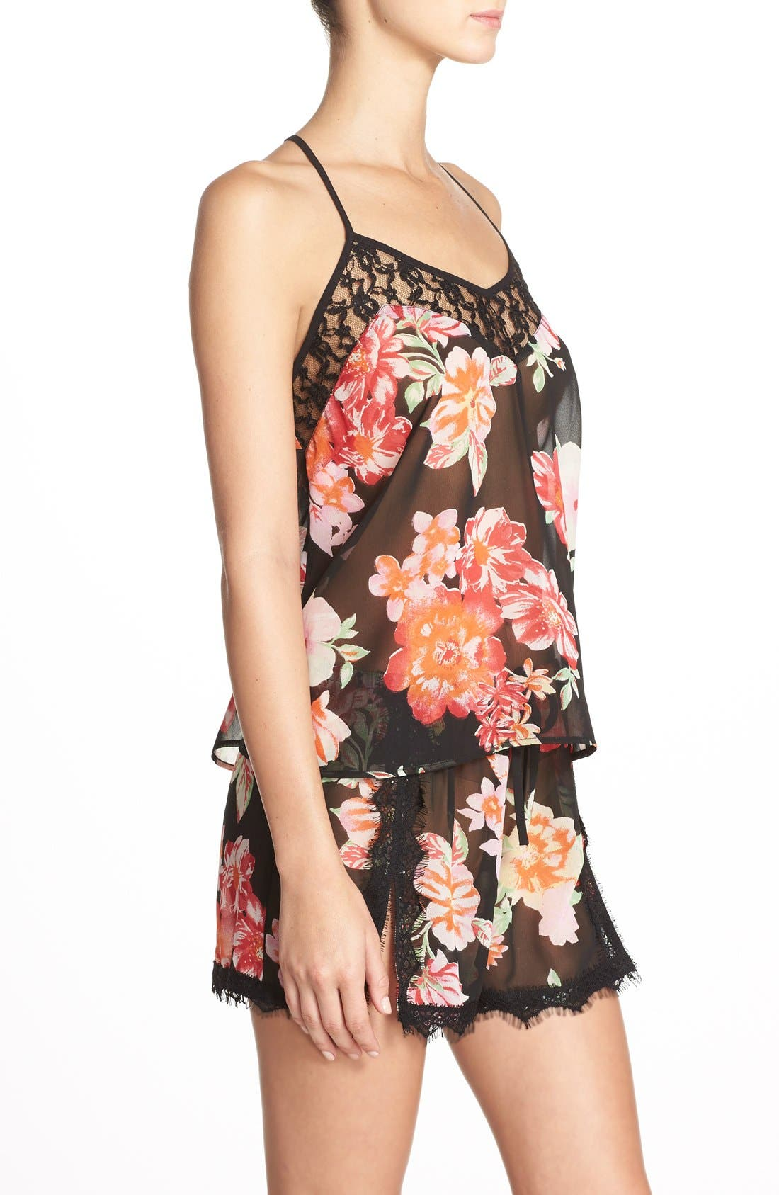Alternate Image 3  - Band of Gypsies Racerback Floral Chiffon Camisole