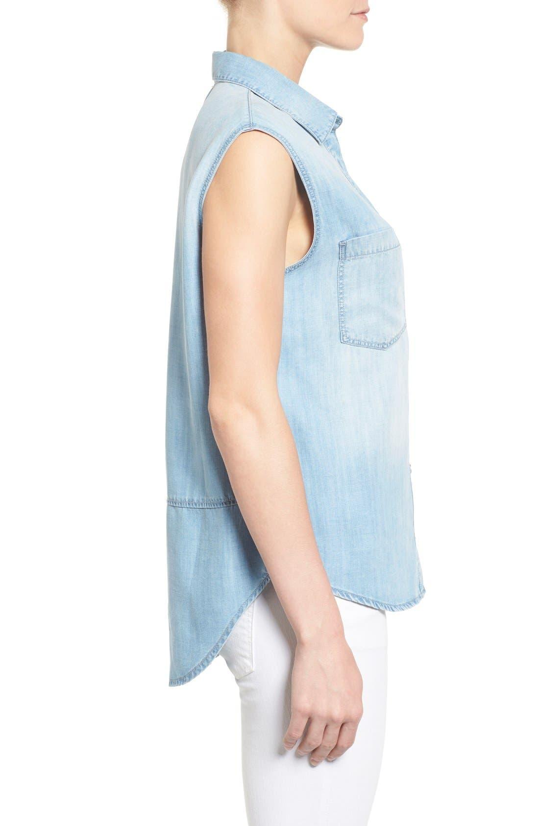 Alternate Image 3  - Mavi Jeans High/Low Lightweight Denim Shirt
