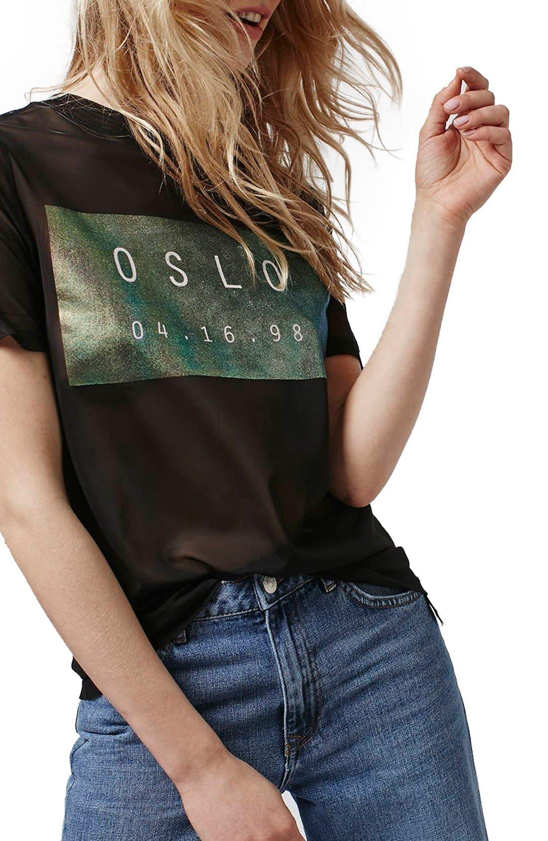 Main Image - Topshop 'Oslo' Holographic Sheer Mesh Tee