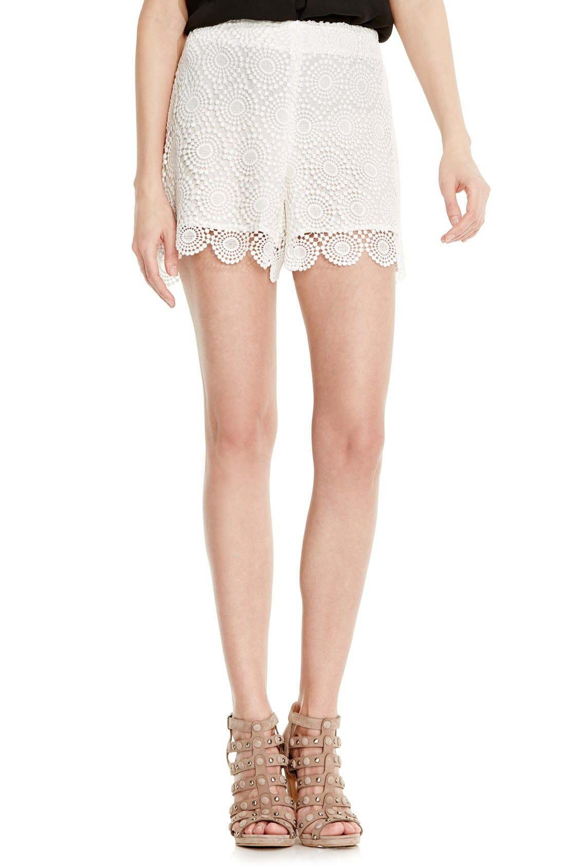 Main Image - Vince Camuto Embroidered Lace Shorts (Regular & Petite)